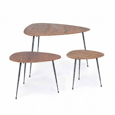 3 Tables Basses Modernes avec Plateau en Manguier Homemotion - Kalidi