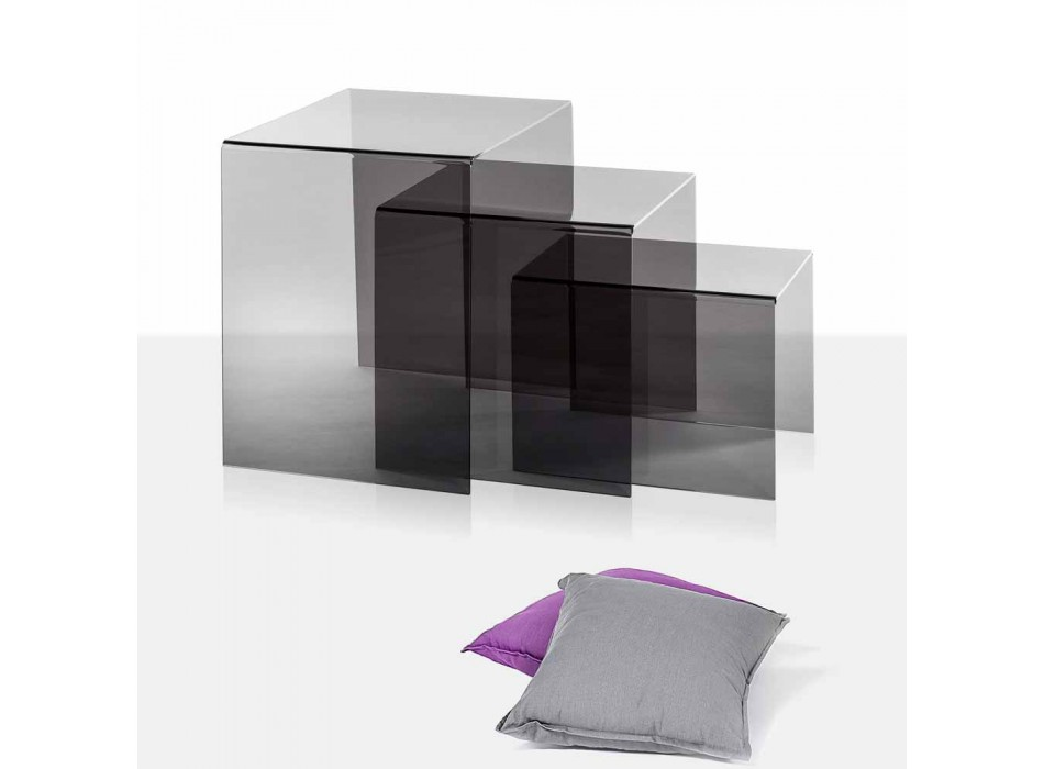 3 tables basses nidification Amalia fumé, un design moderne, made in Italy