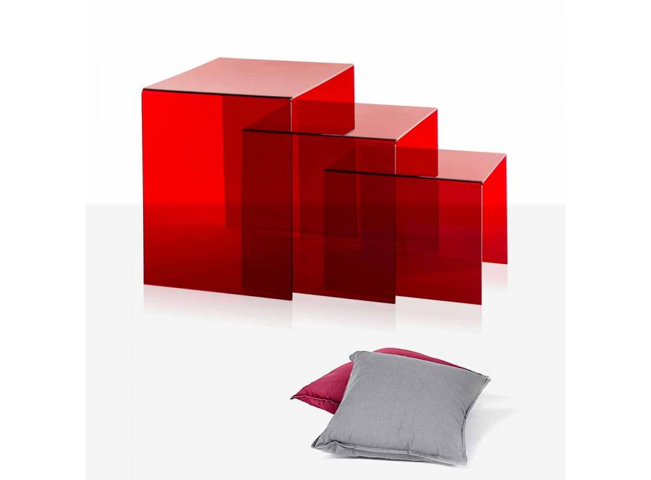 3 tables empilables rouge Amalia, design moderne, made in Italy