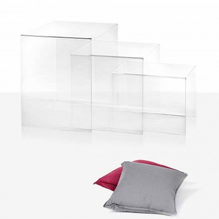 3 tables transparentes superposables Amalia, faites en Italie