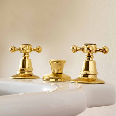 Robinets pour bidet 3 trous en laiton Made in Italy, style classique - Ursula
