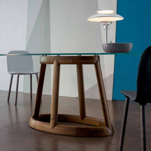 Table ovale Bonaldo Greeny en cristal et bois design made in Italy