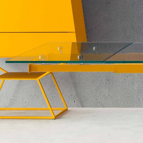Bonaldo Tracks table extensible design en cristal et bois made in Italy