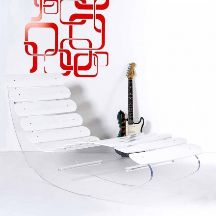 Chaise longue en plexiglas transparent Josu, faite en Italie