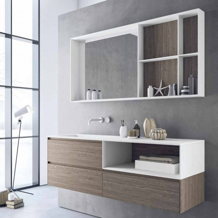 Composition de meubles de salle de bain, design moderne et suspendu Made in Italy - Callisi8