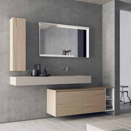 Composition de meubles de salle de bain modernes et suspendus, design Made in Italy - Callisi1