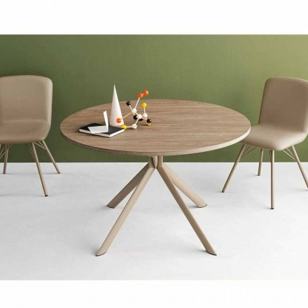 Connubia Calligaris Giove table ronde extensible en bois, diamètre 120