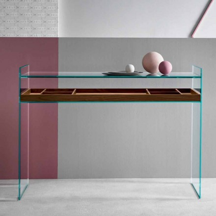 Design Consolle en verre extraclair avec plateau Made in Italy - Imperativo