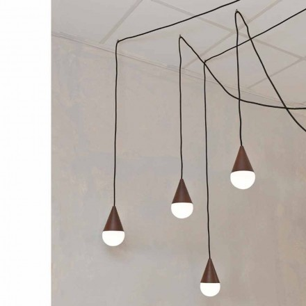Suspension moderne 4 ampoules Drop, couleur corten
