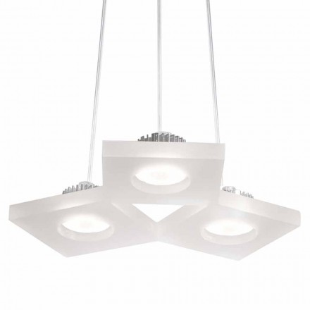 Lampe à suspension méthacrylate blanc satiné, L.27xP.23cm, Nella
