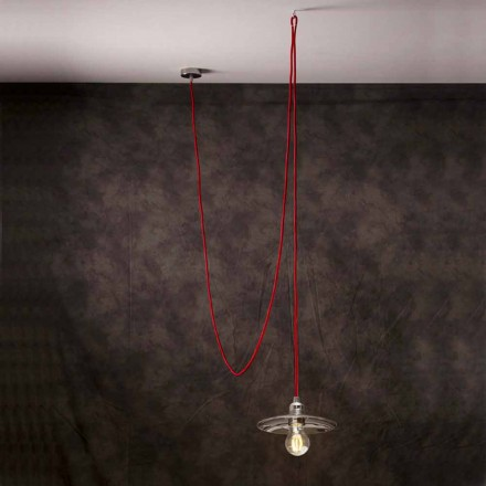 Suspension de design moderne avec câble en soie rouge Chrome