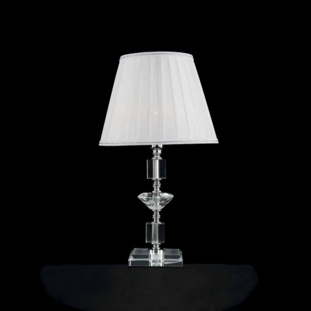 Lampe de table en verre transparent et cristal Ivy, faite en Italie
