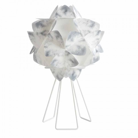 Lampe de table contemporaine en métal blanc, diamètre 46 cm, Kaly