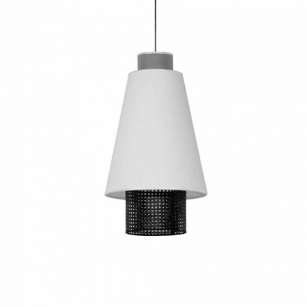 Lampe suspendue de design moderne en tissu et rotin Made in Italy - Sailor