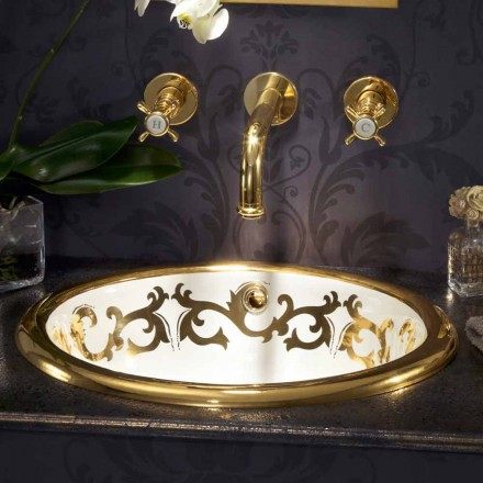 Lavabo encastré décoré fire clay et or 24k made in Italy, Otis