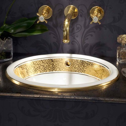 Lavabo encastré rond en fire clay et or 24k made in Italy, Otis