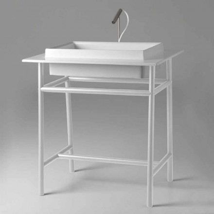 Lavabo rectangulaire en céramique avec structure en métal Made in Italy - Voltino