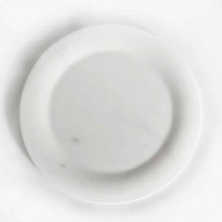Assiette Plate en Marbre Statuaire Blanc Brillant de Design Made in Italy - Brandy