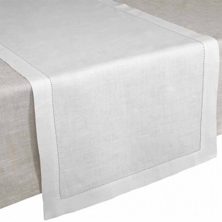 Runner de Table en Pur Lin blanc Créme Made in Italy – Chiana