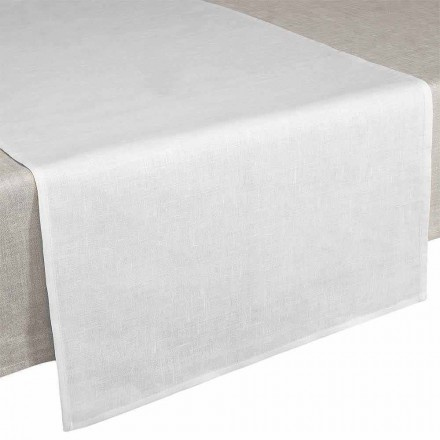 Chemin de table 50x150 cm en pur lin blanc crème Made in Italy - Blessy