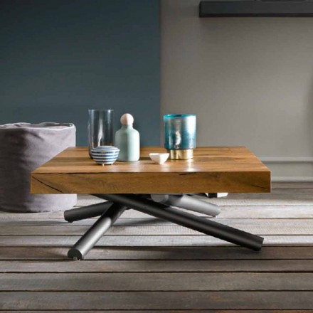 Table basse transformable de design en bois Made in Italy - Vincenzo
