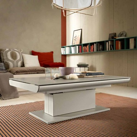 Table basse transformable en verre et acier Made in Italy - Silvestro