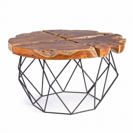 Table basse design Homemotion avec plateau en teck - Grillo