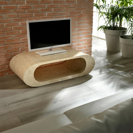 Table basse / meuble TV en pierre fossile grise