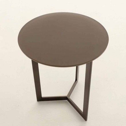 Table basse ronde avec plateau en cristal Made in Italy - Indio