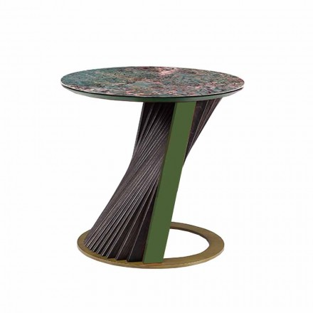 Table basse ronde de luxe en grès et frêne Made in Italy - Bering