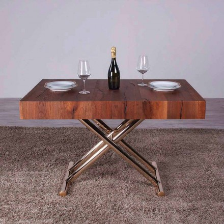 Table basse transformable en bois et métal Made in Italy - Patroclo
