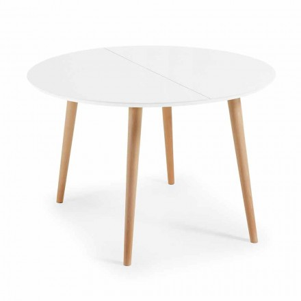 Table ronde extensible design en bois Upama