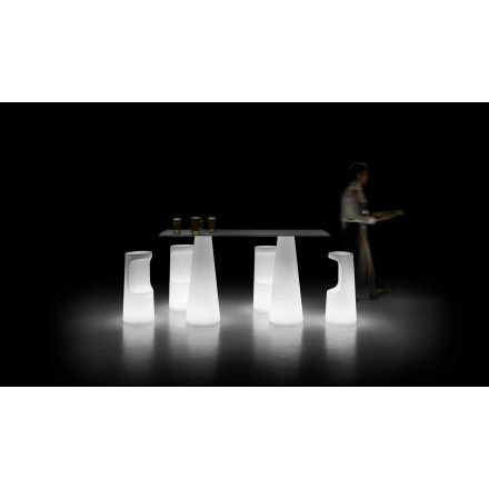 Table d'extérieur design avec base lumineuse avec éclairage LED Made in Italy - Forlina