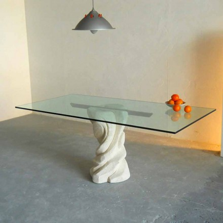 Table à diner de design en pierre et cristal Urano, faite en Italie