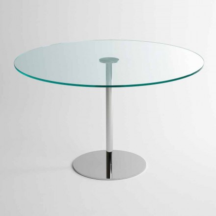 Table à manger ronde avec plateau en verre extralight Made in Italy - Dolce