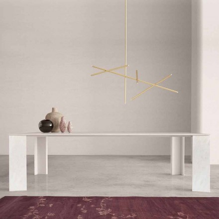 Table de Design Made in Italy en Marbre Blanc Namibia , 210x110 cm -Monastero