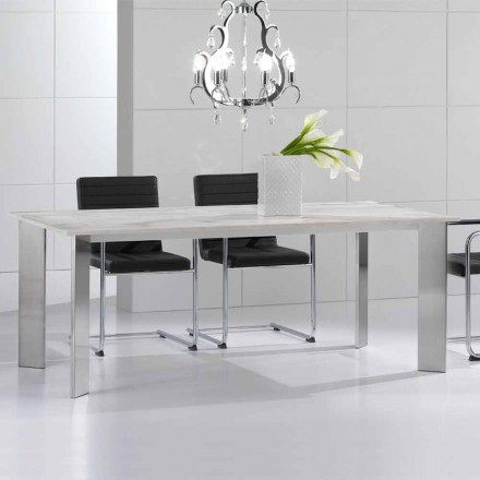 Table moderne de pierre travertin, pieds d' acier brillant Pompilio