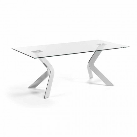 Table rectangulaire en verre Moka 200x100, pieds chrome