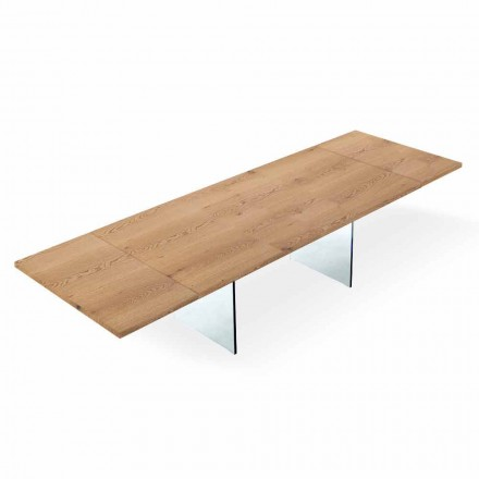 Table Moderne Extensible 300 cm en Laminé et Verre Made in Italy – Strappo