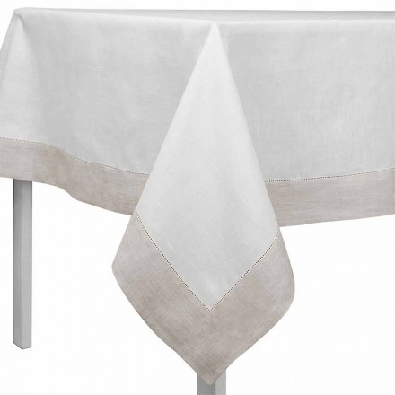 Nappe rectangulaire ou carrée en lin blanc et naturel Made in Italy - Chiana