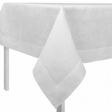 Nappe rectangulaire ou carrée en lin blanc crème Made in Italy - Coquelicot