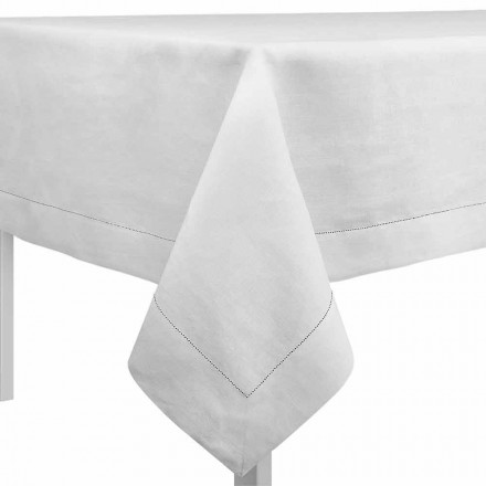 Nappe rectangulaire ou carrée en lin blanc crème Made in Italy - Chiana