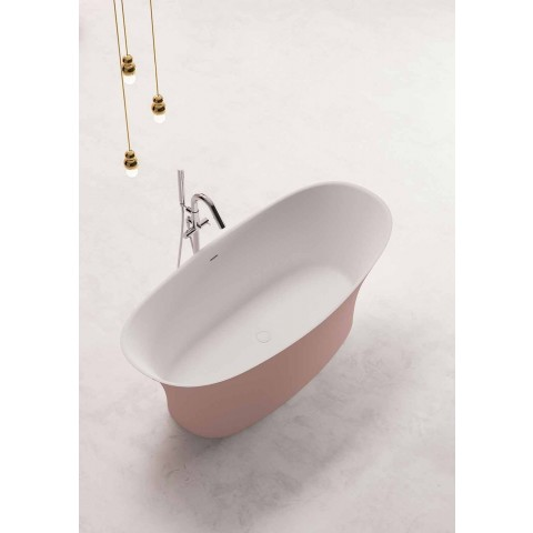 Baignoire bicolore à poser, design en surface solide - Look